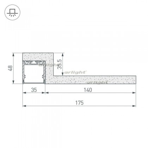 Гипсокартонный Модуль Arlight ARL-LINE-EDGE-35-2000 (ГКЛ 12.5мм) (ARL, -)