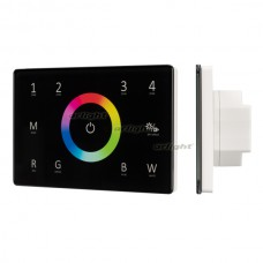 Панель Sens SMART-P85-RGBW Black (230V, 4 зоны, 2.4G) (ARL, IP20 Пластик, 5 лет)