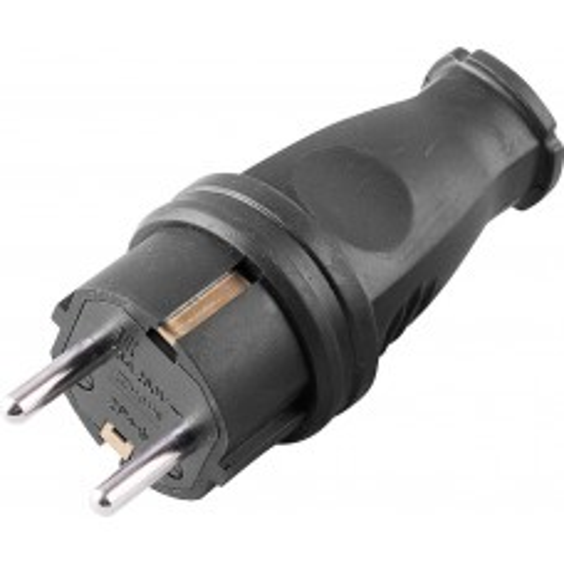 Вилка прямая STEKKER RPG16-21-441 с заземляющим контактом, каучук 250В, 16A, IP44, черная (В 16-001) 32748