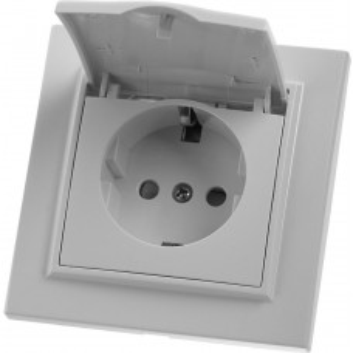 Розетка STEKKER  PST16-9012-01 1-местная с/з, 220В, 16А с защитной шторкой, белая, серия Эрна 39052
