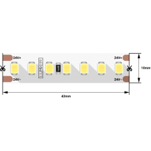Светодиодная лента LUX, 2835, 168 LED/м, 17 Вт/м, 24В, IP33, 2700K DSG2168-24-WW-33