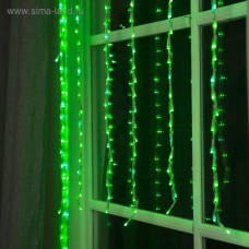 Гирлянда Водопад 1,5x1 м, 300 LED, 220V, 8 режимов, цв. Зелёный